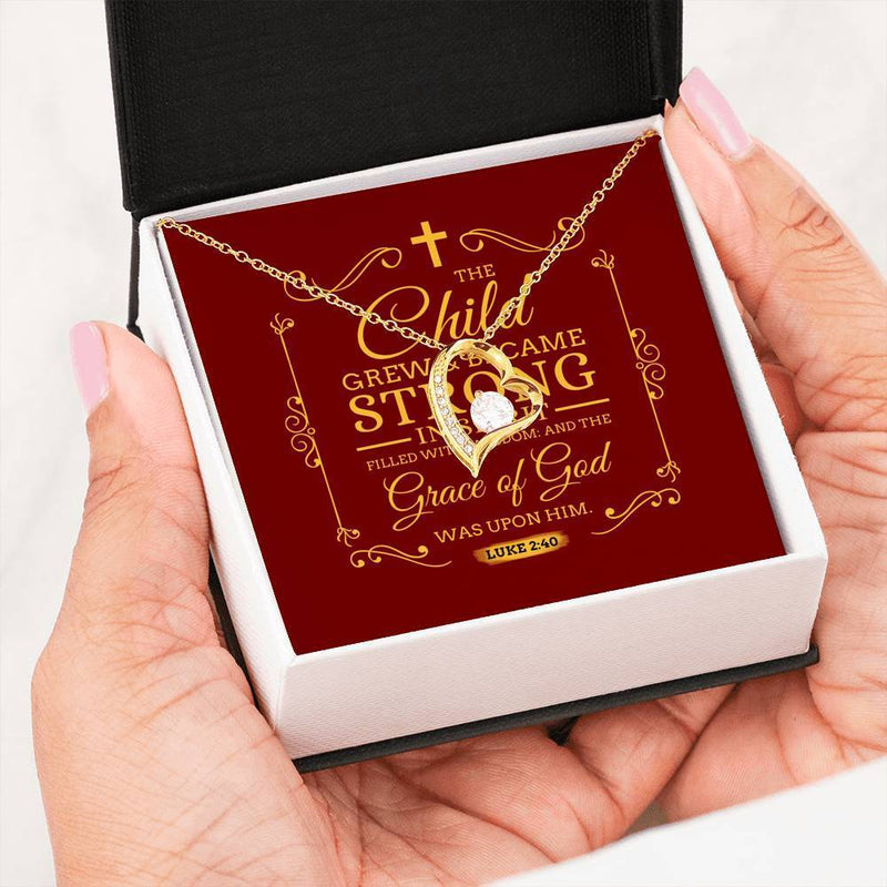 "Luke 2:40 Cubic Zirconia Love Heart Pendant 18k Gold Finish or Stainless Steel 18"" Necklace Express Your Love Gifts"