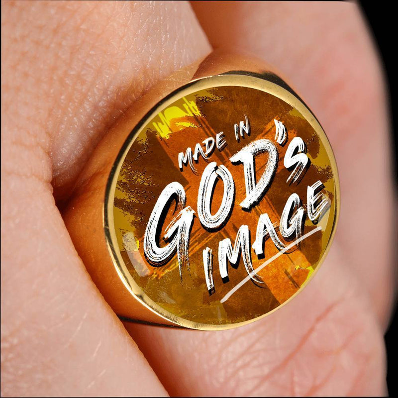 Express Your Love Gifts Made in Gods Image 18k Gold Finish Circle Signet Ring w Free Luxury Gift Box Size 4