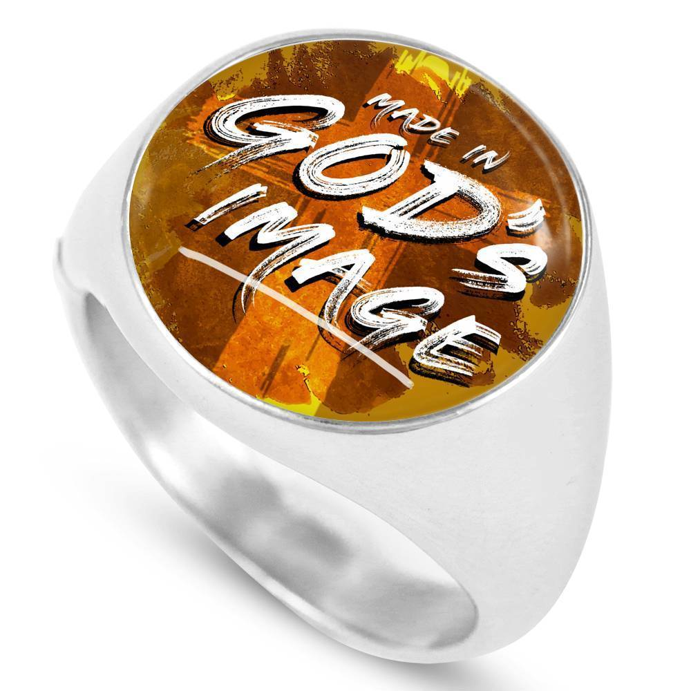 Express Your Love Gifts Made in Gods Image Stainless Steel-Silver Tone Bible Verse Circle Signet Ring w Free Luxury Gift Box Size 4