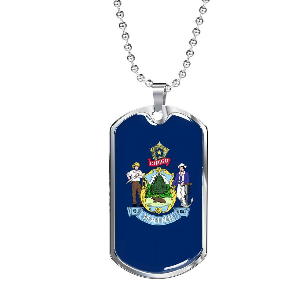 "Express Your Love Gifts Maine Flag Handmade Pendant Stainless Steel or 18k Gold Military Dog Tag Necklace w 24"" Ball Chain Military Chain (Silver) / No"