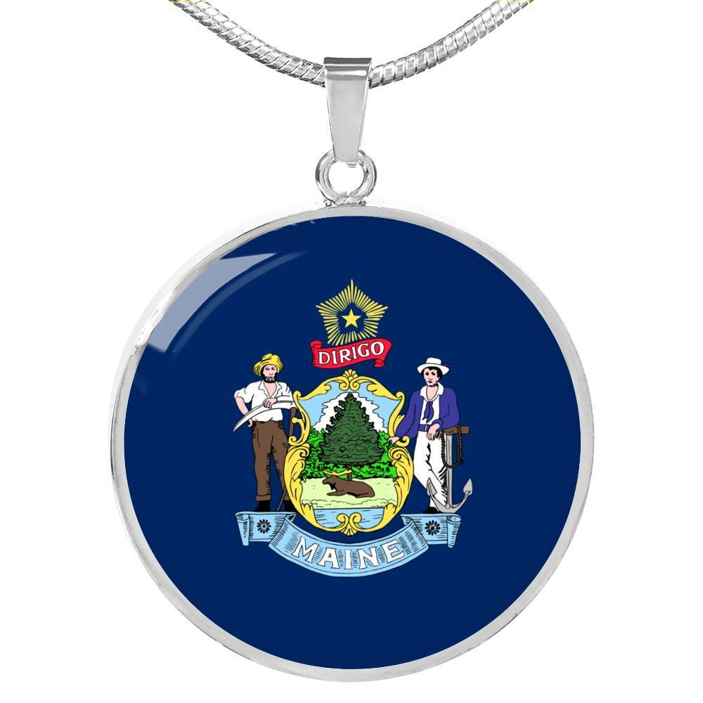 "Maine State Flag Necklace Stainless Steel or 18k Gold Circle Pendant 18-22"" - Express Your Love Gifts"