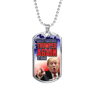 Express Your Love Gifts Make America Trumped Again Dog Tag Pendant Necklace Military Chain (Silver) / No