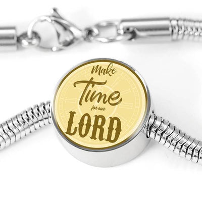 Express Your Love Gifts Make Time for Our Lord Christian Faith Jewelry Matthew Circular Charm Bracelet M/L Bracelet & Charm