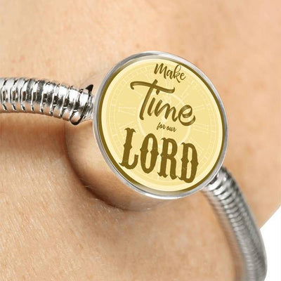 Express Your Love Gifts Make Time for Our Lord Christian Faith Jewelry Matthew Circular Charm Bracelet