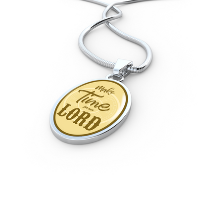 Express Your Love Gifts Make Time for Our Lord Scripture-Inspired Jewelry Oval Pendant Necklace Luxury necklace w/ adjustable snake-chain