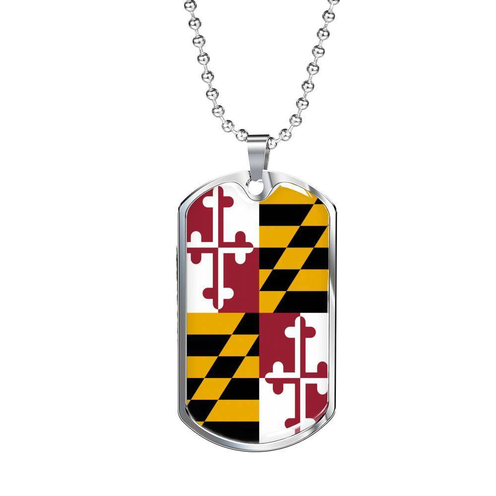 "Express Your Love Gifts Maryland Flag Handmade Pendant Stainless Steel or 18k Gold Military Dog Tag Necklace w 24"" Ball Chain Military Chain (Silver) / No"