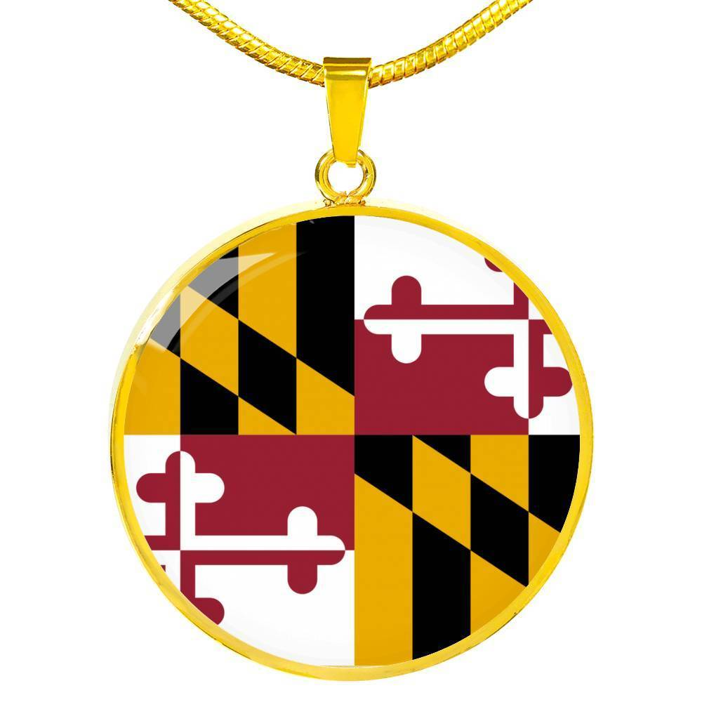 "Express Your Love Gifts Maryland State Flag Circle Pendant Stainless Steel or 18k Gold Finish Necklace Adjustable 18""-22"" Luxury Necklace (Gold) / No"