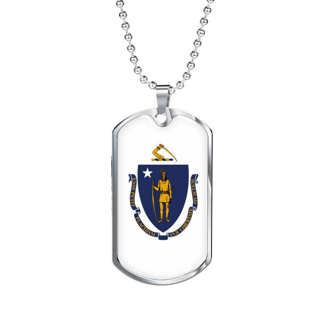 "Express Your Love Gifts Massachusetts Flag Handmade Pendant Stainless Steel or 18k Gold Military Dog Tag Necklace w 24"" Ball Chain Military Chain (Silver) / No"