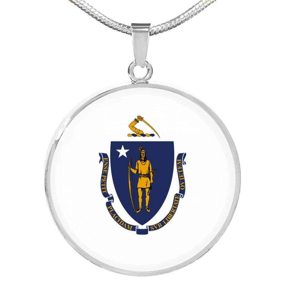 "Massachusetts	State Flag Necklace Stainless Steel or 18k Gold Circle Pendant 18-22"" - Express Your Love Gifts"