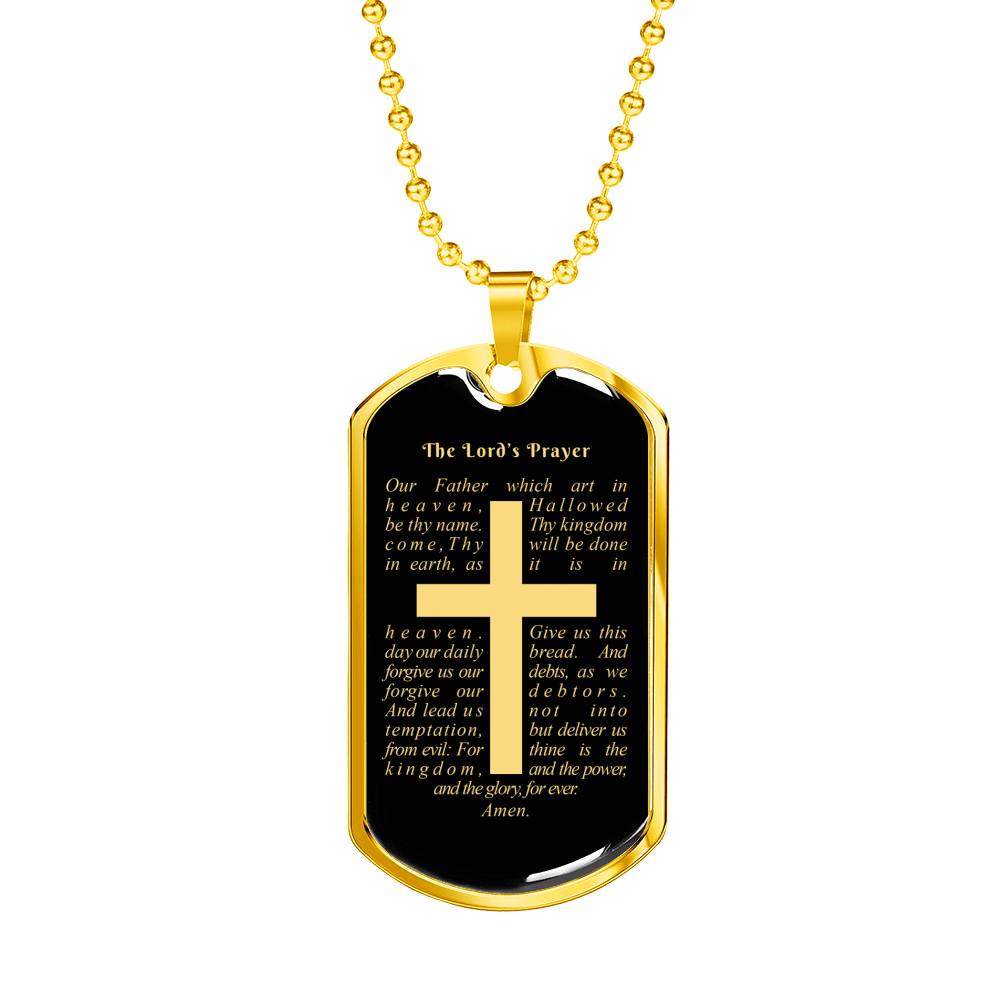 "Lord's Prayer Dog Tag Necklace Stainless Steel or 18k Gold Dog Tag w 24"" Chain - Express Your Love Gifts"