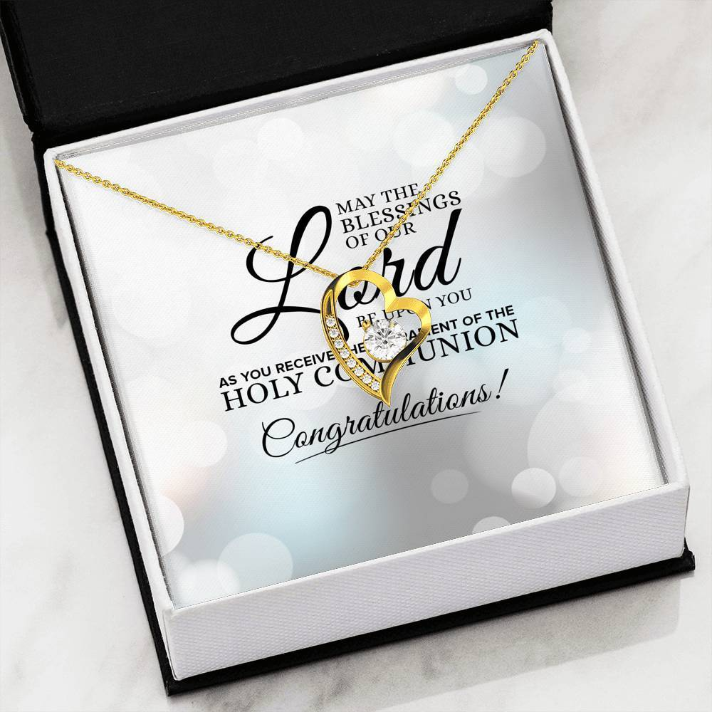"May the Blessings of Our Lord Be Upon You Cubic Zirconia Love Heart Pendant 18k Gold Finish or Stainless Steel 18"" Necklace Express Your Love Gifts"