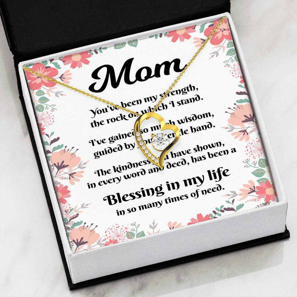 Message to My Mom CZ Love Heart Pendant with Keepsake Card - Express Your Love Gifts