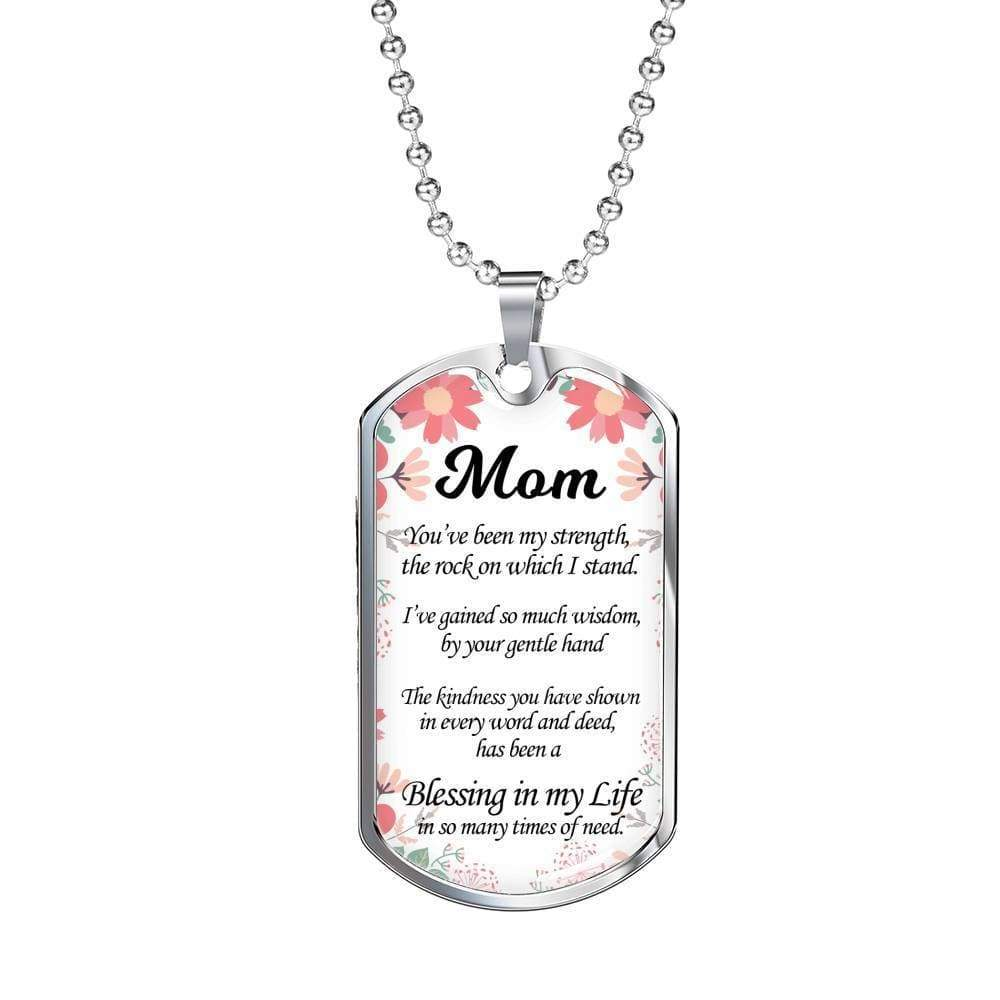 "Message to My Mom Necklace Stainless Steel or 18k Gold Military Dog Tag w 24"" Ball Chain Express Your Love Gifts"