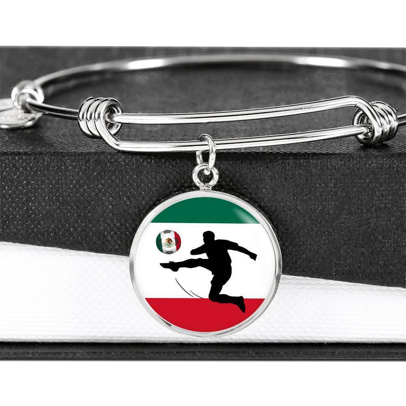 Mexico Flag and Futbol/Soccer Stainless Steel or 18k Gold Circle Bangle Bracelet - Express Your Love Gifts