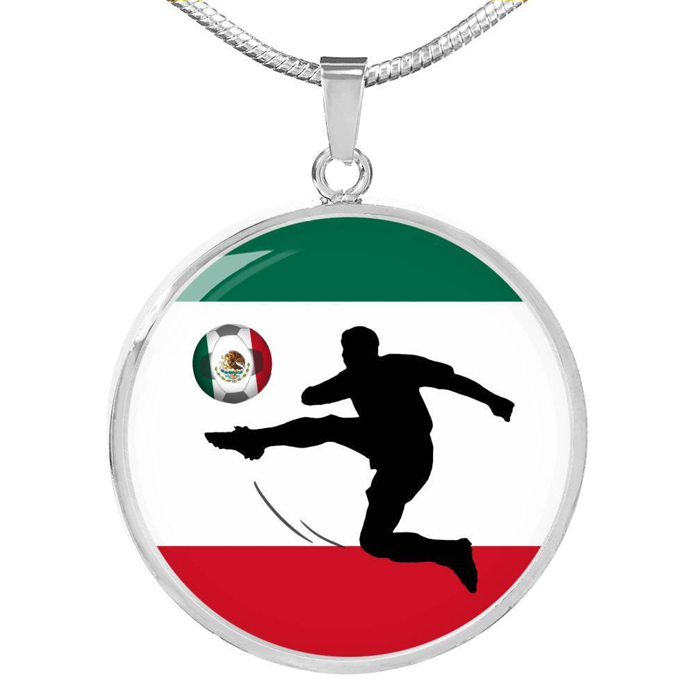 Express Your Love Gifts Mexico Flag and Futbol/Soccer Circular Pendant Necklace