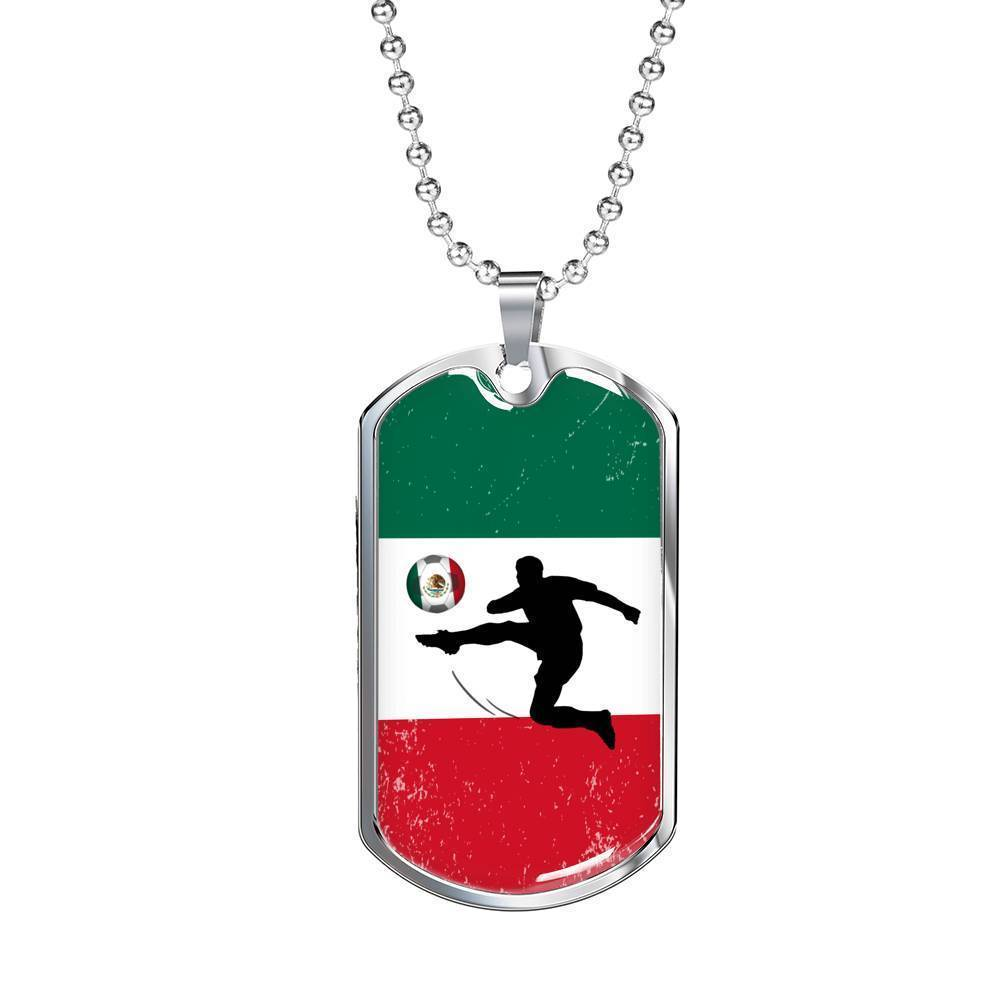 "Mexico Flag and Futbol/Soccer Necklace Stainless Steel or 18k Gold Dog Tag w 24"" Chain - Express Your Love Gifts"