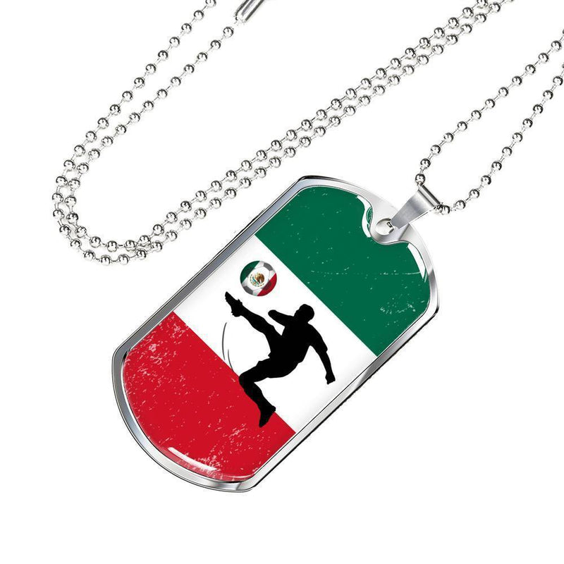 Express Your Love Gifts Mexico Flag and Futbol/Soccer Dog Tag Pendant Necklace Military Chain (Silver) / No