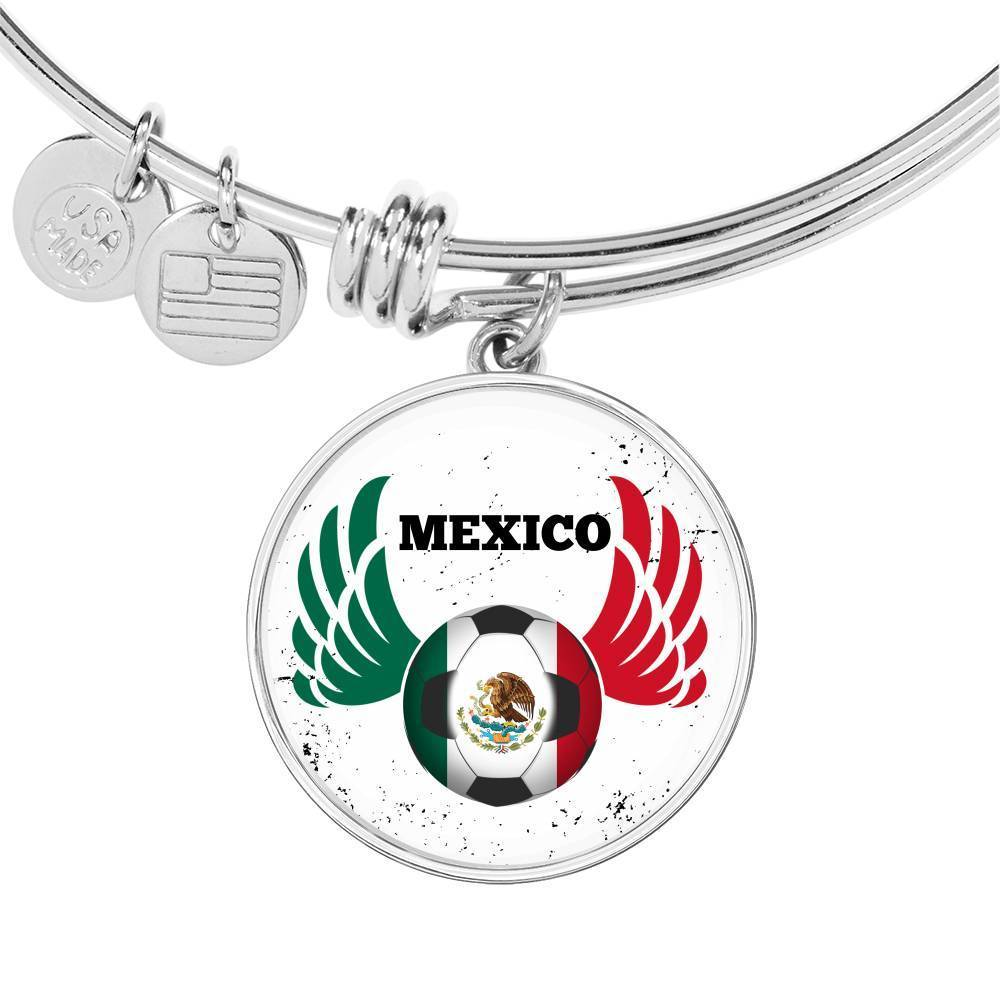 Mexico Futbol/Soccer Stainless Steel or 18k Gold Circle Bangle Bracelet - Express Your Love Gifts