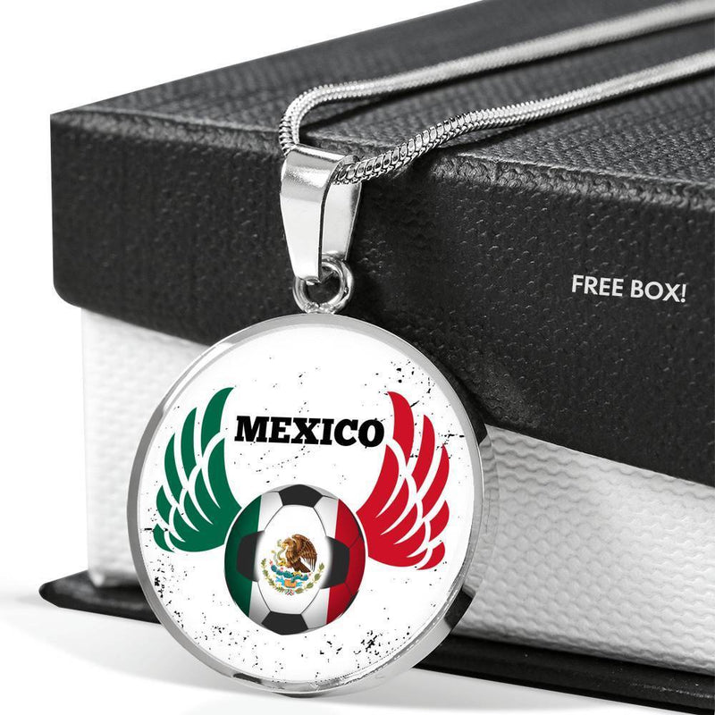 Express Your Love Gifts Mexico Futbol/Soccer Circular Pendant Necklace