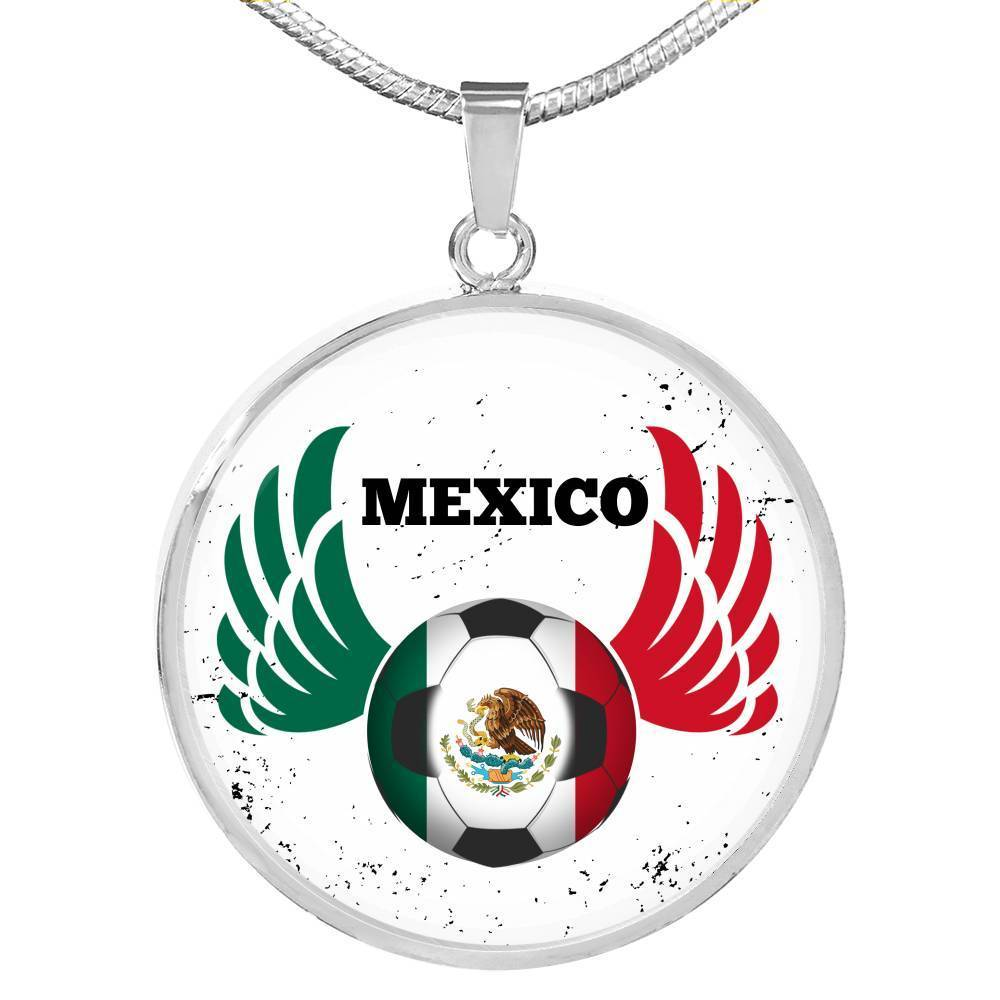 "Mexico Futbol/Soccer Circle Pendant Necklace Stainless Steel or 18k Gold 18-22"" - Express Your Love Gifts"