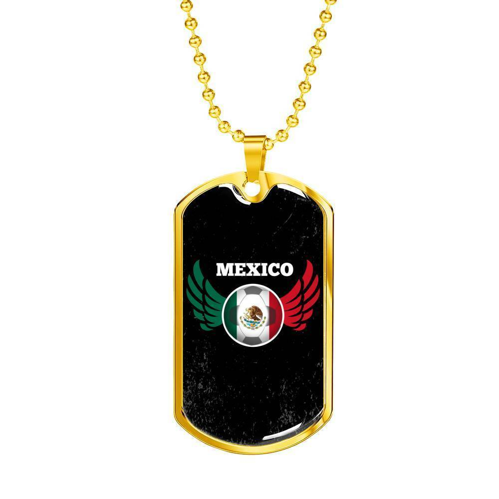 Express Your Love Gifts Mexico World Futbol/Soccer Dog Tag Pendant Necklace Military Chain (Gold) / No