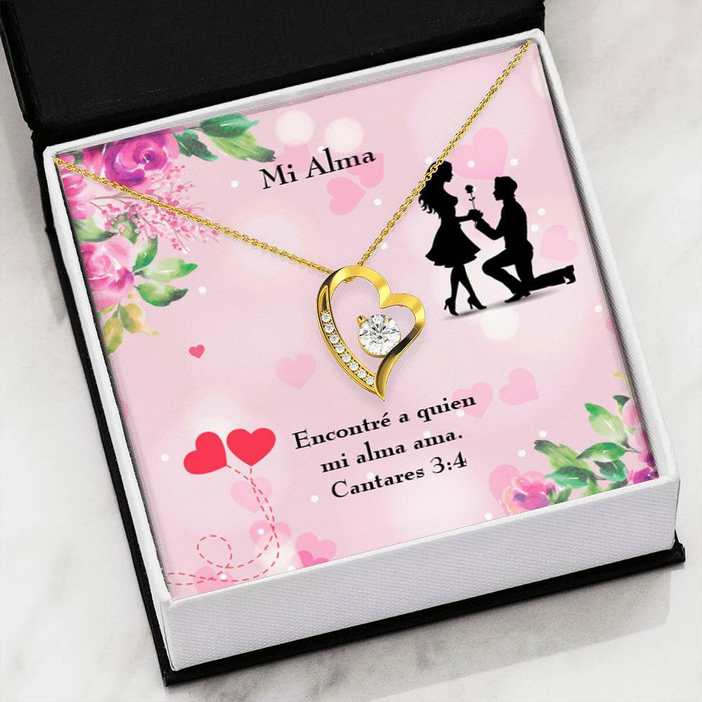 "Mi Alma CZ Love Heart Pendant 18k Gold or Stainless Steel 18"" Necklace - Express Your Love Gifts"