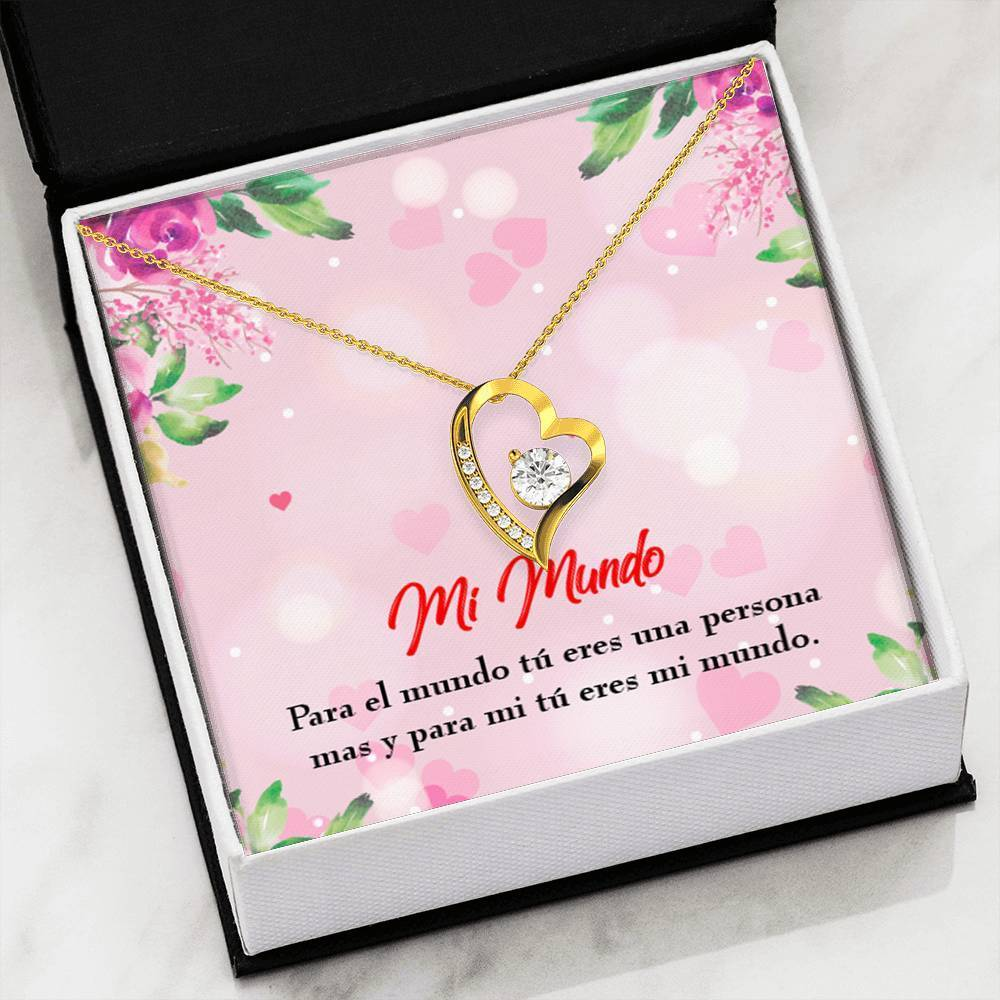 "Mi Mundo CZ Love Heart Pendant 18k Gold or Stainless Steel 18"" Necklace - Express Your Love Gifts"