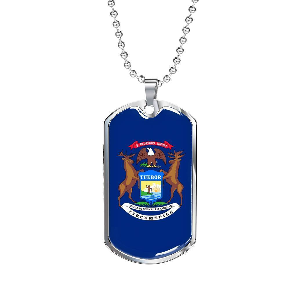 "Express Your Love Gifts Michigan Flag Handmade Pendant Stainless Steel or 18k Gold Military Dog Tag Necklace w 24"" Ball Chain Military Chain (Silver) / No"