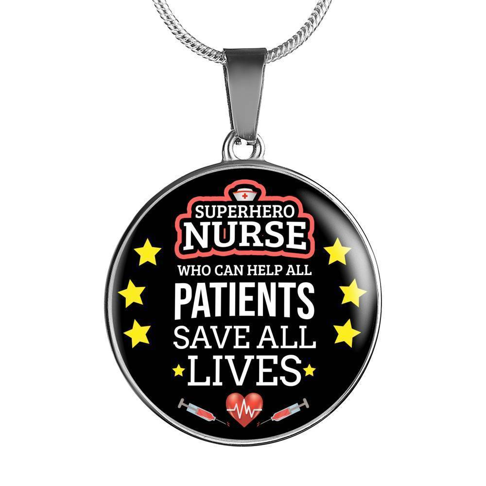 Express Your Love Gifts Mighty Nurse Jewelry Gift Circular Pendant Necklace or Bracelet Bangle