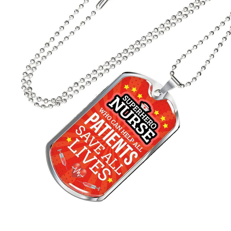 Express Your Love Gifts Mighty Nurse Jewelry Gift Dog Tag Pendant Necklace