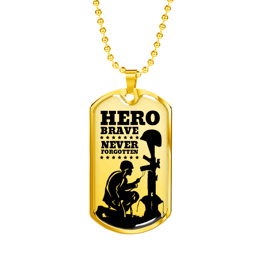 Express Your Love Gifts Military Tribute to Fallen Soldiers Dog Tag Pendant Military Chain (Gold) / No