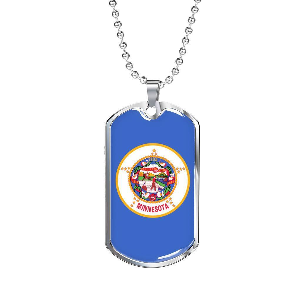 "Express Your Love Gifts Minnesota Flag Handmade Pendant Stainless Steel or 18k Gold Military Dog Tag Necklace w 24"" Ball Chain Military Chain (Silver) / No"