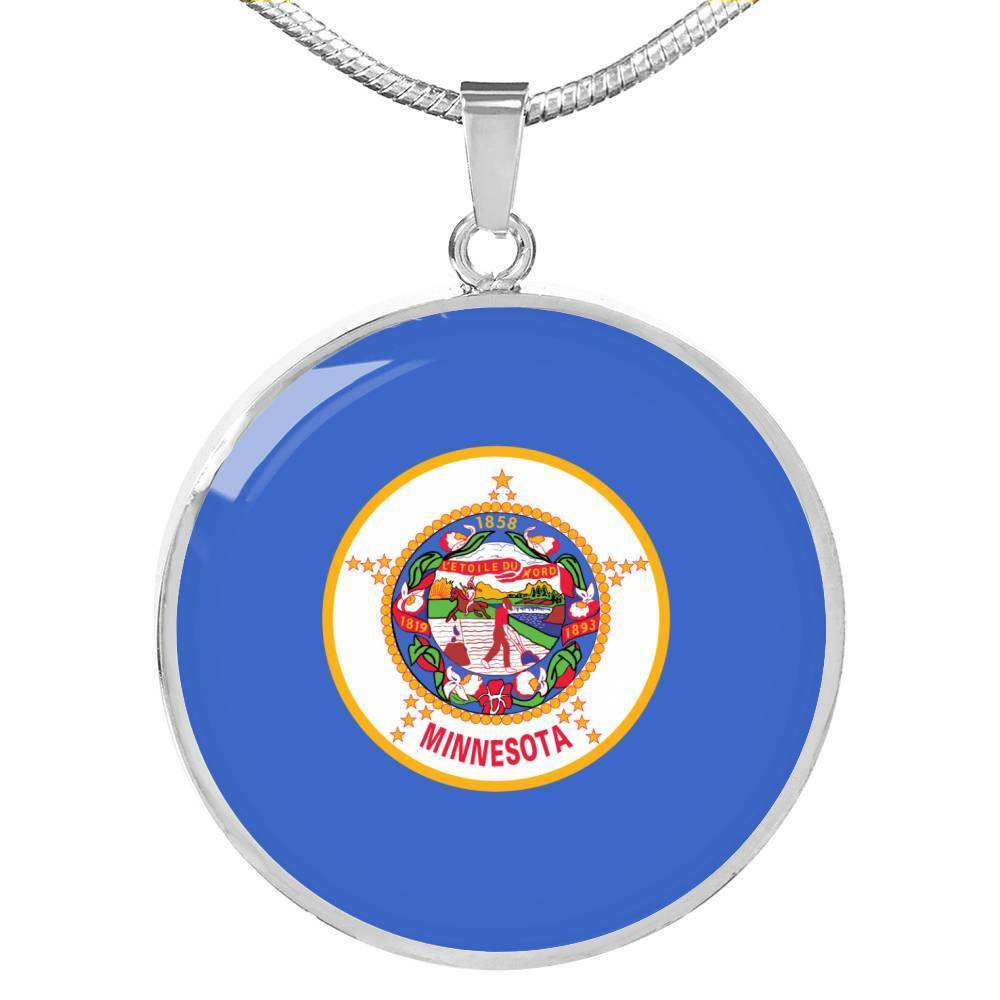 "Express Your Love Gifts Minnesota State Flag Circle Pendant Stainless Steel or 18k Gold Finish Necklace Adjustable 18""-22"" Luxury Necklace (Silver) / No"