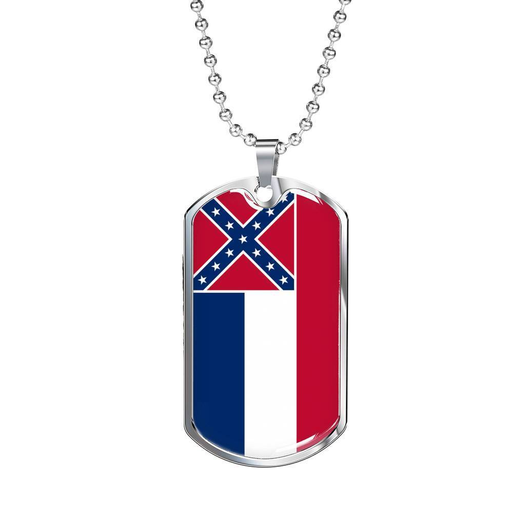 "Express Your Love Gifts Mississippi Flag Handmade Pendant Stainless Steel or 18k Gold Military Dog Tag Necklace w 24"" Ball Chain Military Chain (Silver) / No"