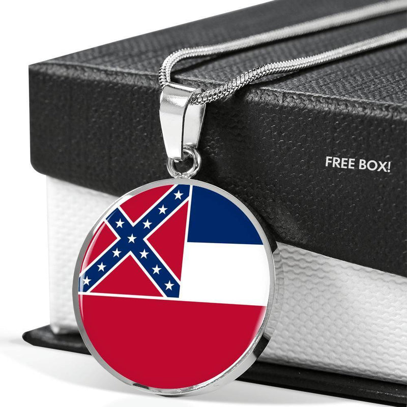 "Mississippi State Flag Circle Necklace MS Pendant Stainless Steel or 18k Gold 18-22"" - Express Your Love Gifts"