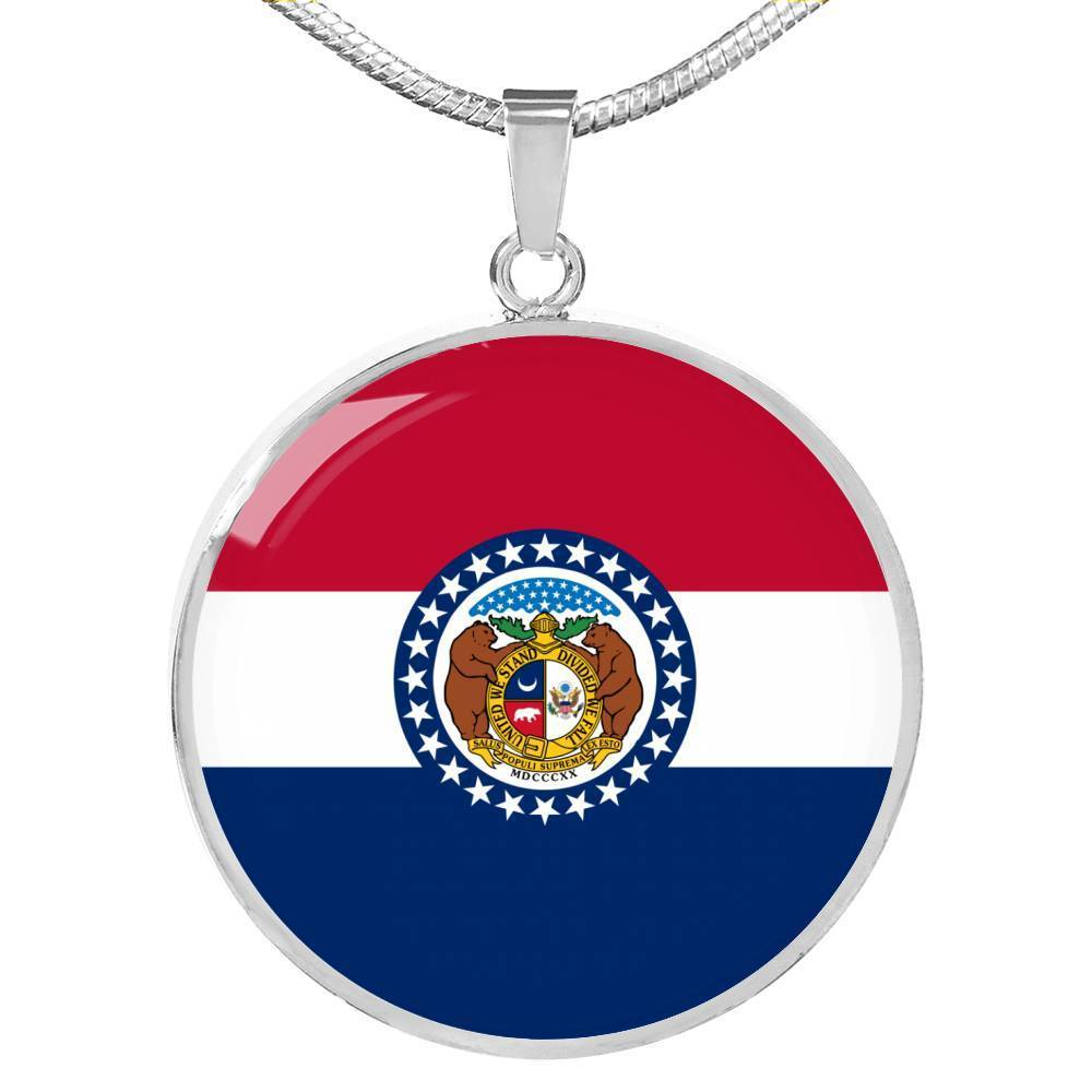 "Missouri State Flag Necklace Stainless Steel or 18k Gold Circle Pendant 18-22"" - Express Your Love Gifts"
