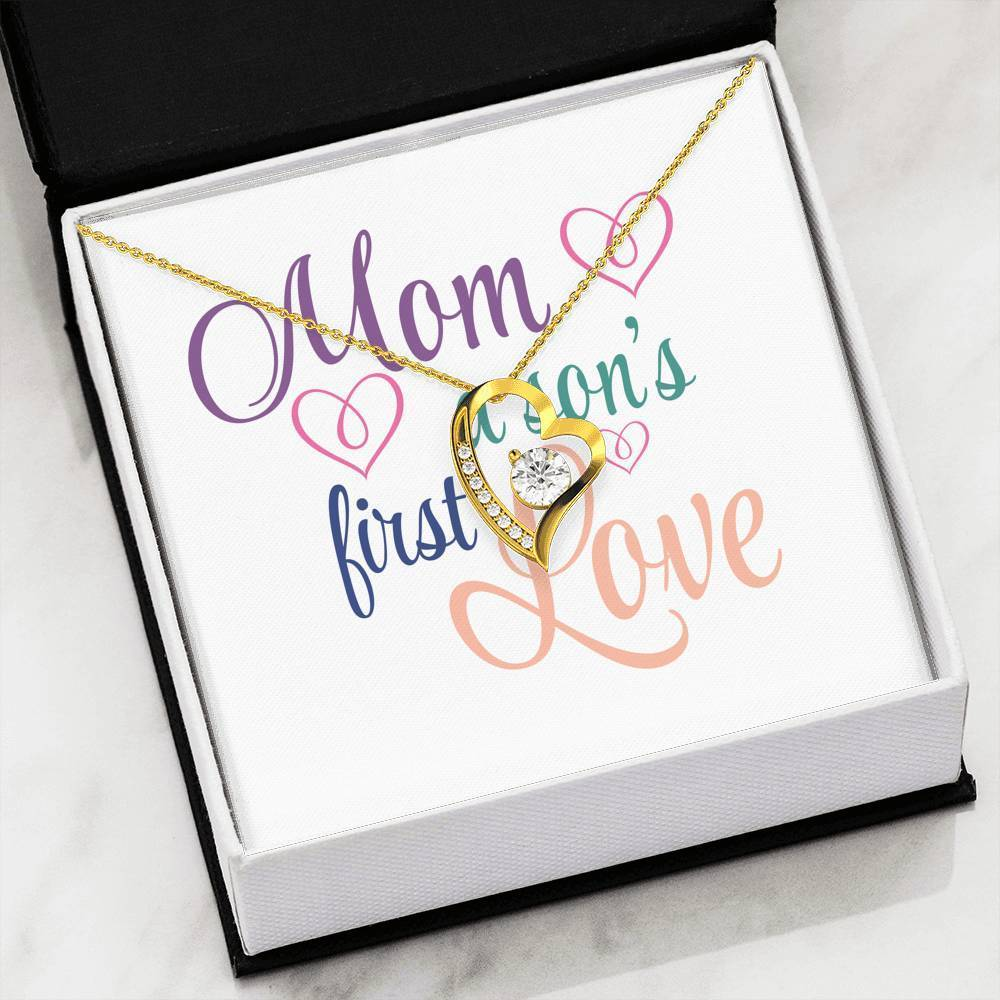 "Mom a Son's First Love Cubic Zirconia Love Heart Pendant 18k Gold Finish or Stainless Steel 18"" Necklace Express Your Love Gifts"