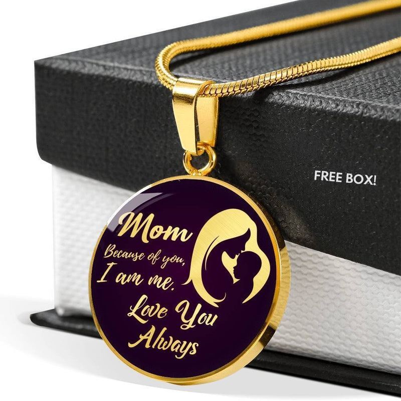 "Mom Because of You I am Me Circle Pendant Necklace 18k Gold 18""22"" - Express Your Love Gifts"