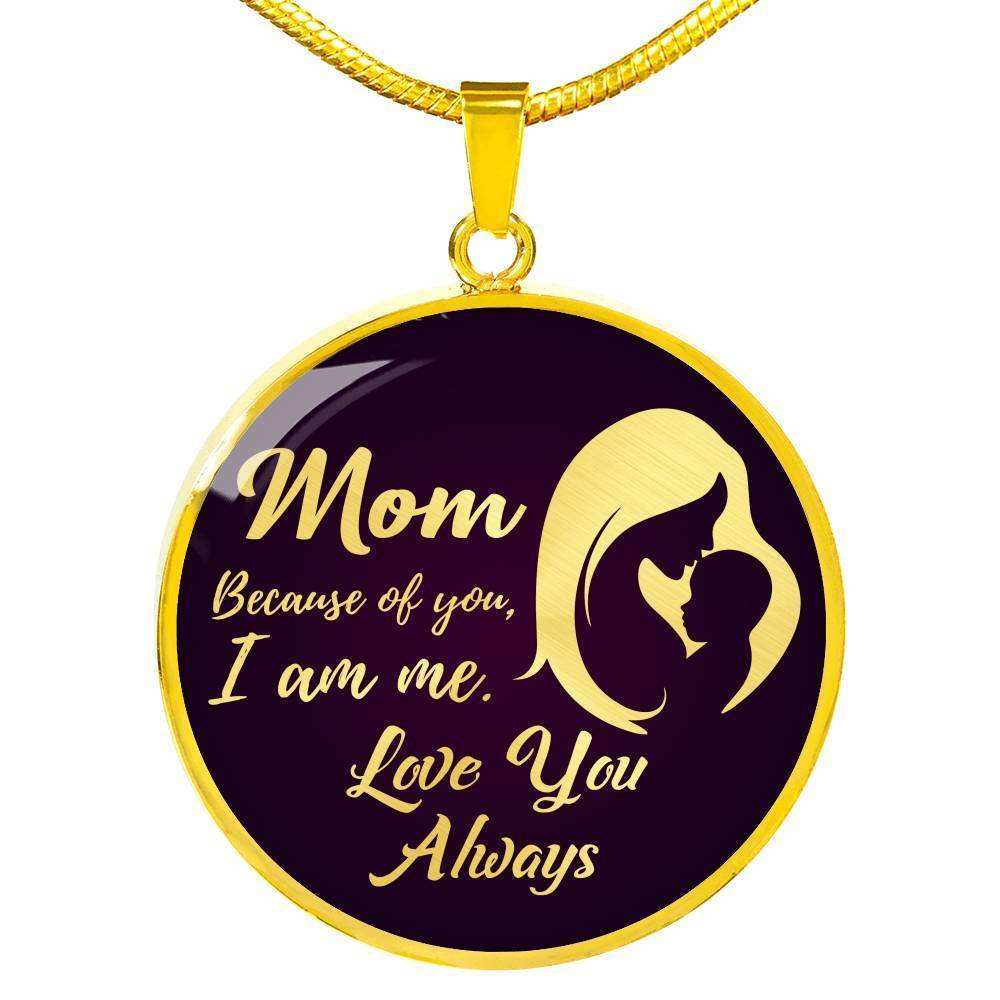 Express Your Love Gifts Mom, Because of You, I am Me Circle Necklace Pendant Luxury Necklace (Gold) / No