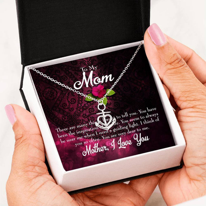 Mom Gift Necklace- Message to Mother Anchor Pendant Stainless Steel, Mothers Day Birthday Jewelry Gift Express Your Love Gifts