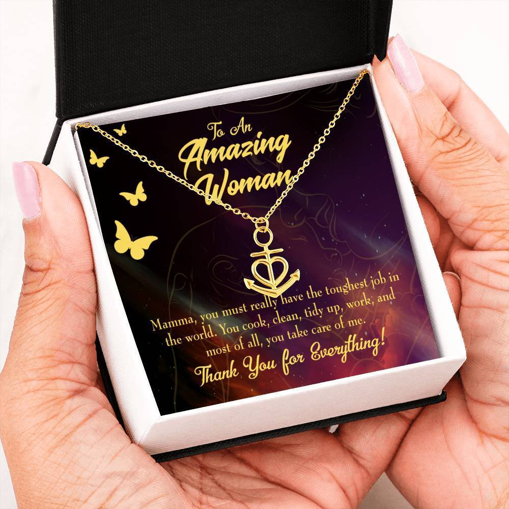 Mom Gift Necklace- Mom Tough Job Anchor Pendant Stainless Steel, Mothers Day Birthday Jewelry Gift Express Your Love Gifts