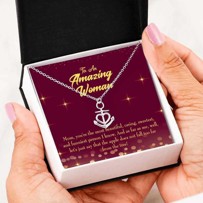 Mom Gift Necklace- Most Beautiful Anchor Pendant Stainless Steel, Mothers Day Birthday Jewelry Gift Express Your Love Gifts