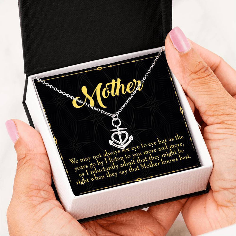 Mom Gift Necklace- Mother Knows Best Anchor Pendant Stainless Steel, Mothers Day Birthday Jewelry Gift Express Your Love Gifts