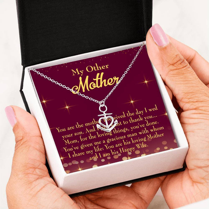 Mom Gift Necklace- My Other Mother Anchor Pendant Stainless Steel, Mothers Day Birthday Jewelry Gift Express Your Love Gifts