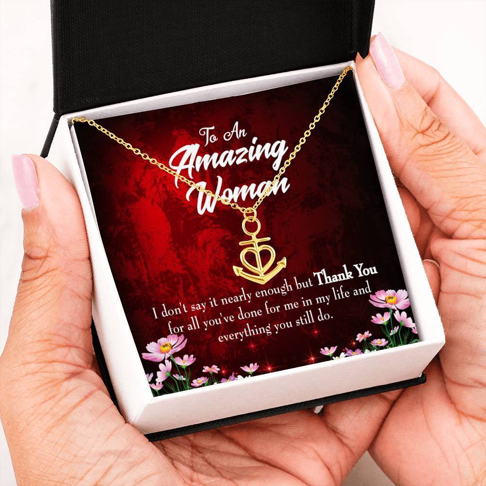 Mom Gift Necklace- Nearly Enough Anchor Pendant Stainless Steel, Mothers Day Birthday Jewelry Gift Express Your Love Gifts