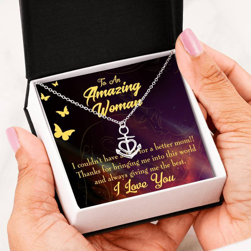 Mom Gift Necklace- No Better Mom Anchor Pendant Stainless Steel, Mothers Day Birthday Jewelry Gift Express Your Love Gifts