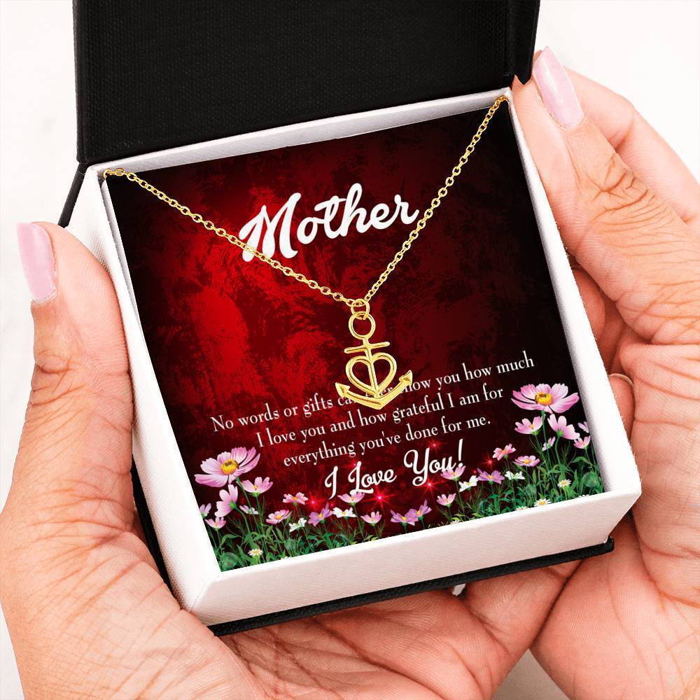 Mom Gift Necklace- No Words Anchor Pendant Stainless Steel, Mothers Day Birthday Jewelry Gift Express Your Love Gifts