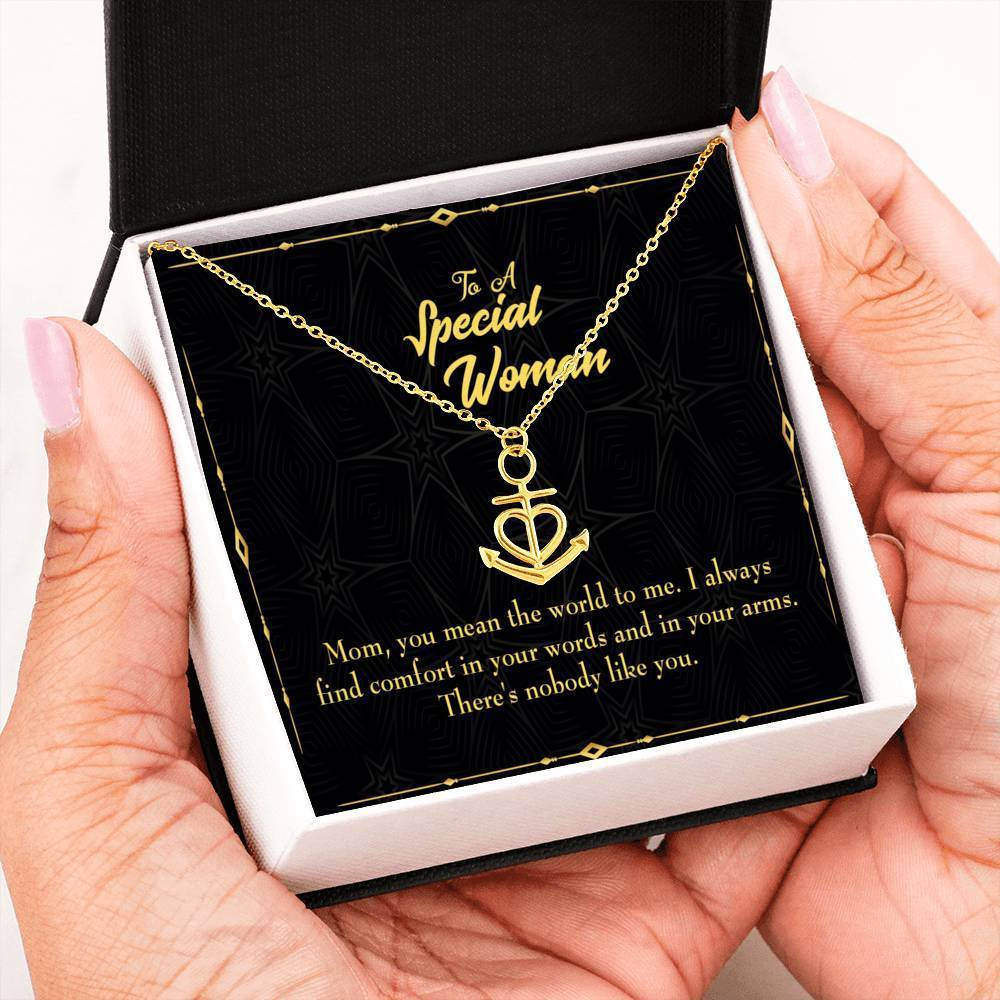 Mom Gift Necklace- One Like You Anchor Pendant Stainless Steel, Mothers Day Birthday Jewelry Gift Express Your Love Gifts