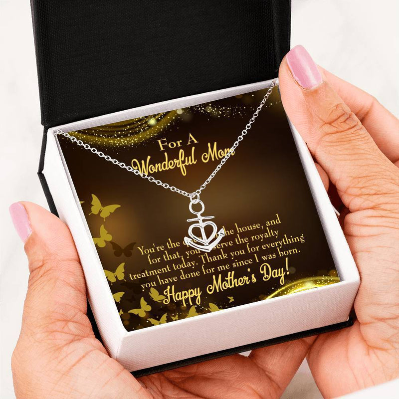 Mom Gift Necklace- Queen of House Anchor Pendant Stainless Steel, Mothers Day Birthday Jewelry Gift Express Your Love Gifts