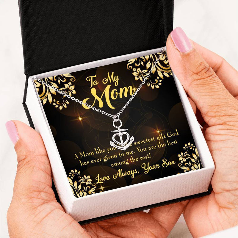 Mom Gift Necklace- Son to Mother Anchor Pendant Stainless Steel, Mothers Day Birthday Jewelry Gift Express Your Love Gifts